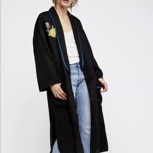 Free People Bird  Flower Embroidered Duster M/L
